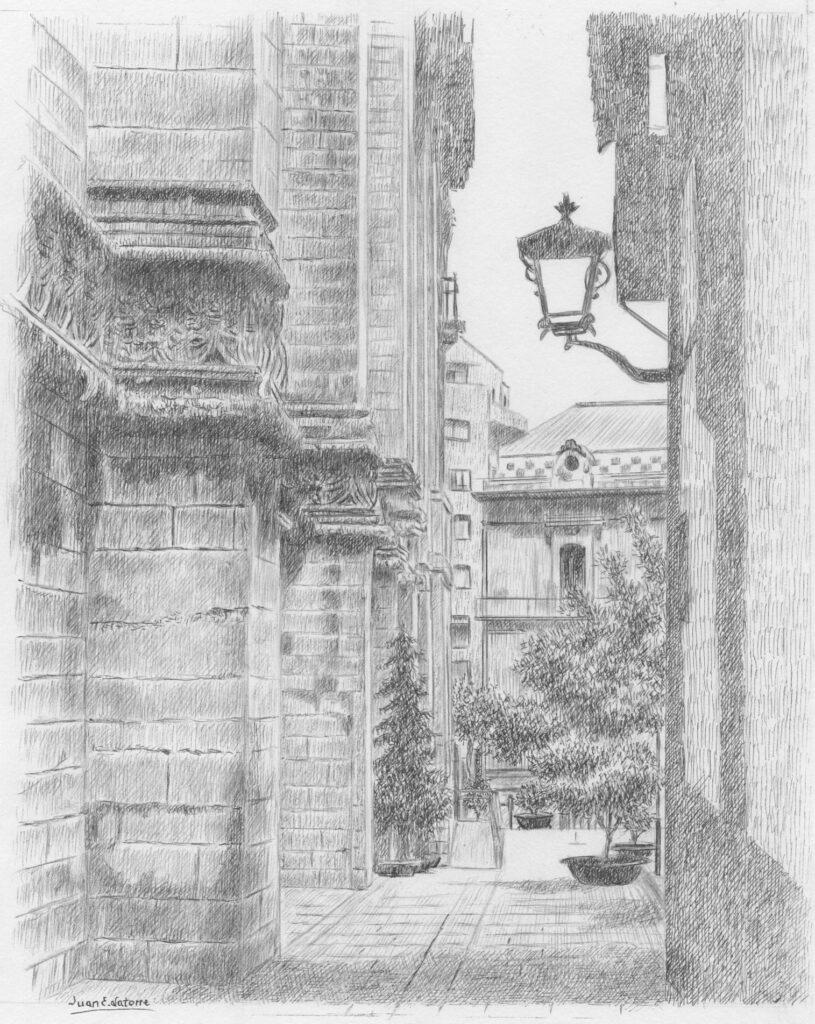 'Rua Valparaíso' o 'Callejón de la Mona' - Ilustración de Juan Eduardo Latorre Gálvez