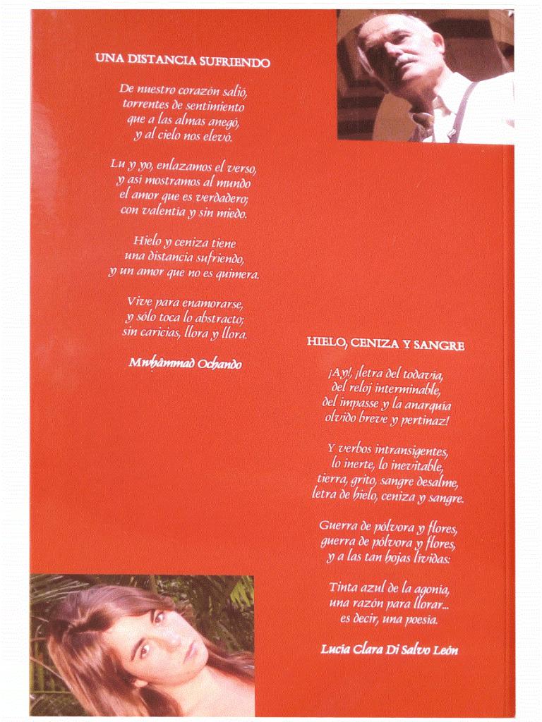 Contraportada de 'Hielo y ceniza. Poemas' - Lucía Clara Di Salvo león y Manuel Ochando Ortiz
