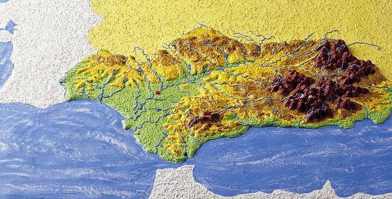 Mapa geográfico 3D de Andalucia